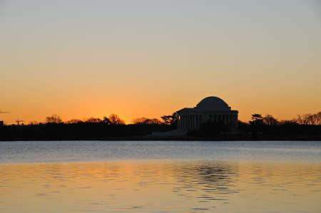 district of columbia: The Jefferson Memorial at sunrise, Washington, DC Stock Photo