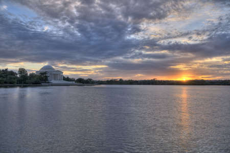district of columbia: The Jefferson Memorial at sunset, Washington, DC