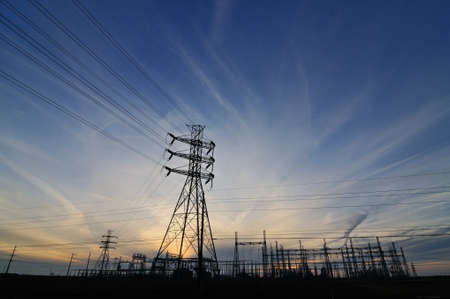 Powerlines at sunset Imagens