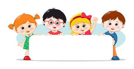 Niños con un cartel en blanco. Ilustración vectorial