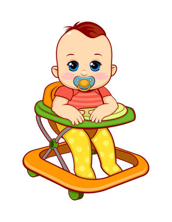 Baby walker Cute baby baby with pacifier. Vector illustration Illustration