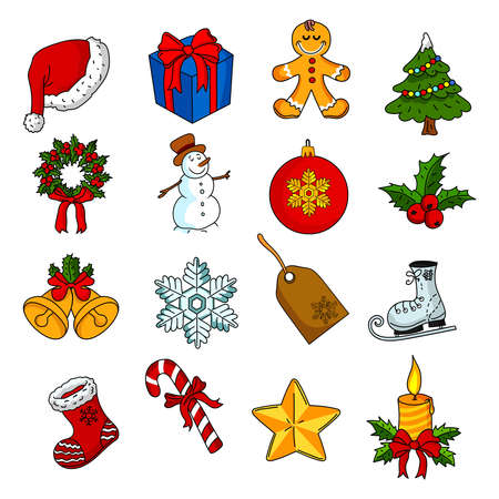 Set of christmas icons vector isolated on white background