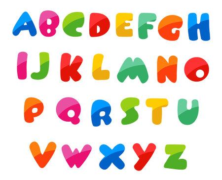 Colorful handwritten abc alphabet letters vector illustration