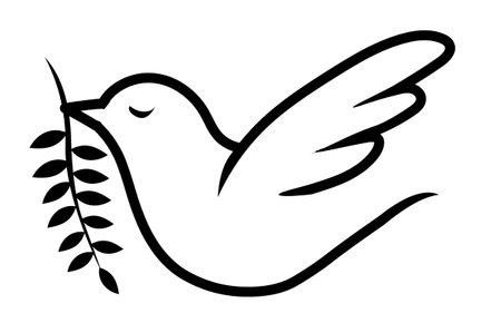 Dove, peace vector line icon, sign, illustration on background, editable strokes stock illustration