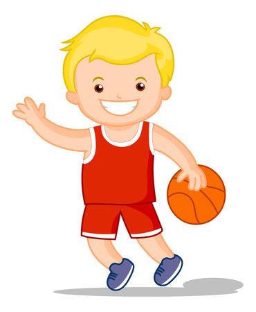 Basket ball kid Cartoon boy playing basket ball illustration