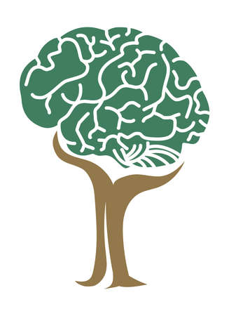 Tree brain concept stock illustration, Logo Vector