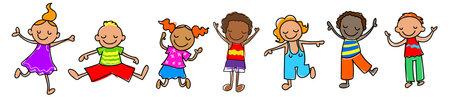 Happy stick figure kids vector illustrations , Ethnic diversity kids