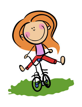 Stick Figure Cartoon Young Woman rides bicycle . Concept of love cycling stock illustration
