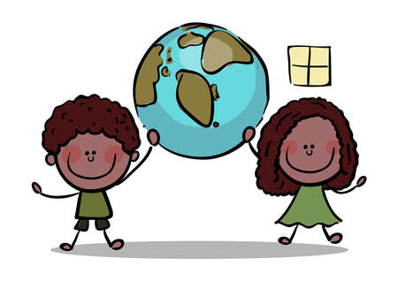 Stick Figure Kids holding planet earth stock illustration , Save Earth Concept