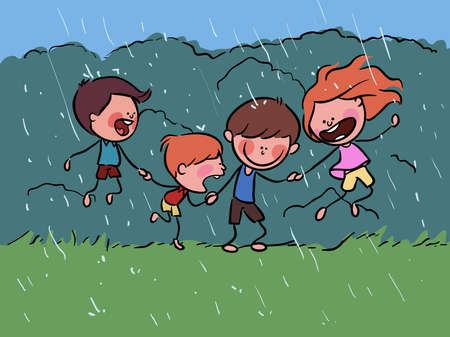 Happy Kids playing in Rainy Day Spring stock illustration vector