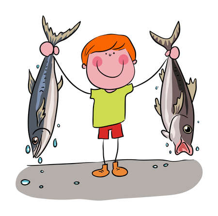 Fisherman holding up his catch , two fish in both hands vector illustration