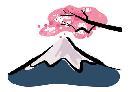 Mount Fuji stock illustration vector , isolated in white background