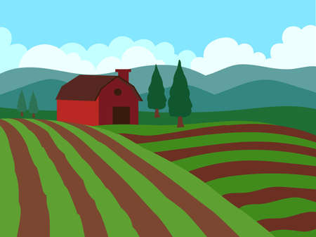 Farmhouse Green Fields with mountains Vector illustration