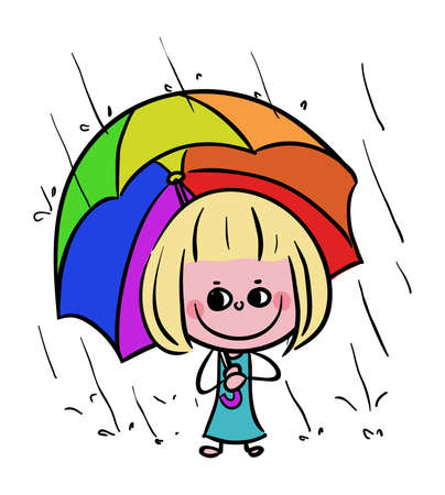 Kid holding Umbrella in Rainy Day Spring stock illustration vector