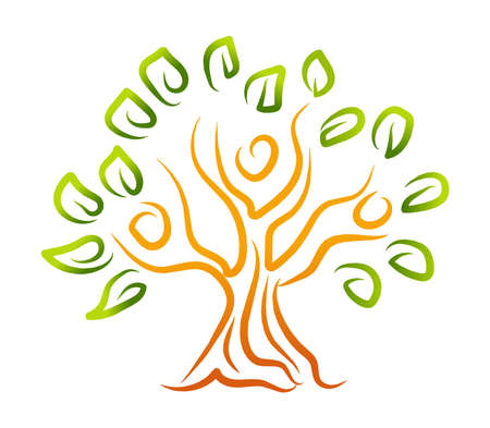 Family Tree Logo nature vector illustration isolated in white background
