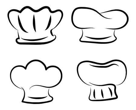 Different styles of Chef Hat line art vector illustration