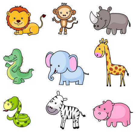 African Wildlife Animals Landscape stock illustration