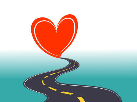 Road to Love stock illustration vector , end of road heart symbol illustration Vektoros illusztráció