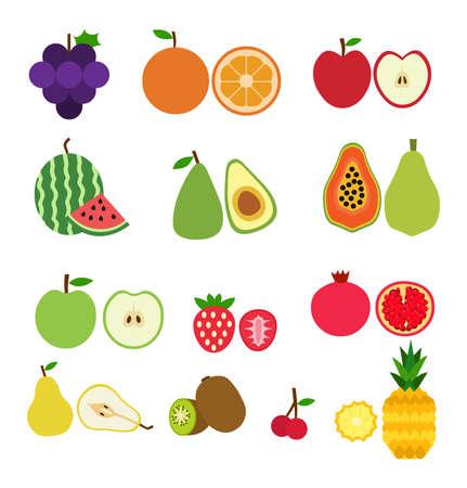 Set of fruits flat style illustration logo icon vector isolated on white background Logo