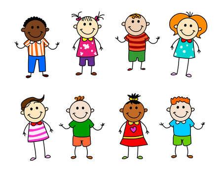 Stickfigure cartoon kids set vector isolated