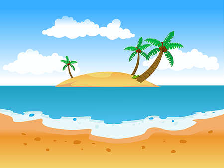 Summer sandy beach with palm trees and bright blue sky vector illustration