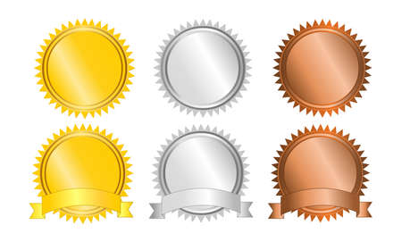 Medals Set of gold silver and bronze medals vector isolated on white background Vettoriali