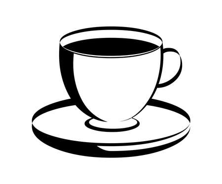 Coffee cup icon vector silhouette isolated on white background Vector Illustration
