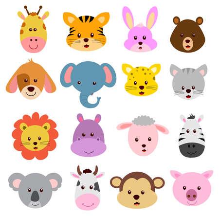 Cartoo faces of wild and farm animals vector isolated on white background Ilustración de vector