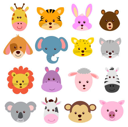 Cartoo faces of wild and farm animals vector isolated on white background Vector Illustration