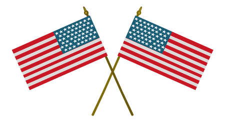 American flag crossed vector isolated on white background