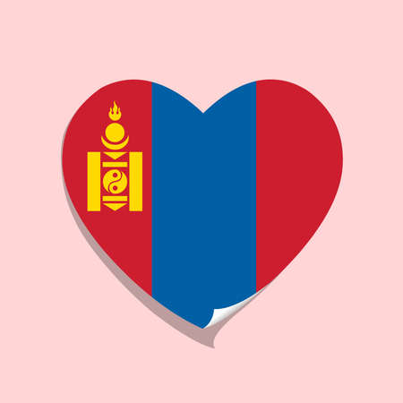 I love Mongolia flag heart vector illustration 矢量图片