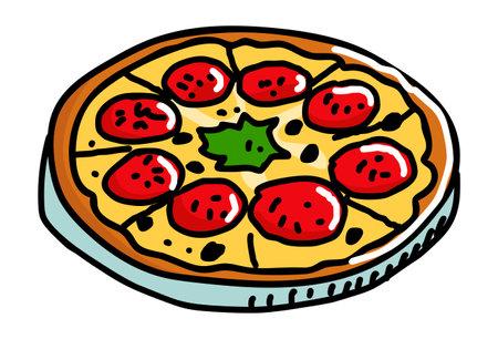 Pizza illustration isolated on white background Vektoros illusztráció
