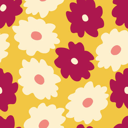 Beautifull tropical flowers and leaves seamless pattern design