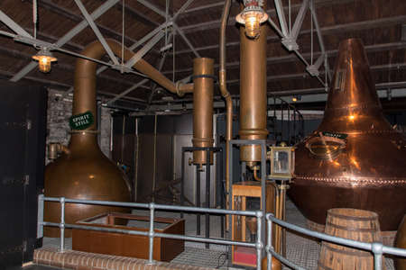 Wash still and spirit still pots to create whiskey at Old Jameson Distillery in Dublin