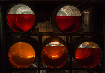 Transparent bottom barrels with Irish whiskey of different age (e.g. 8, 12, 14 years) in Jameson Distillery, Dublin Editorial