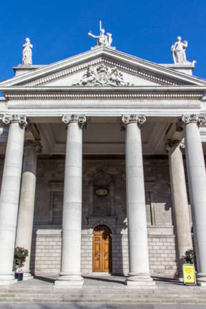 irish history: Bank of Ireland building in Dublin with beautiful pillars in front of the entrance Editorial