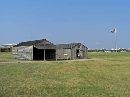 Historic area of the Wright Brothers National Memorial located in Kill Devil Hills North Carolina USA with the famous landmarks of Wilbur and Orville Wright that commemorates the first successful powered flights from 1900 to 1903