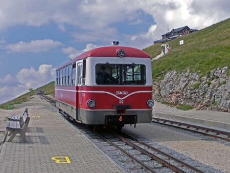 wolfgang: Mountain railway station on top of the Schafberg in Austria close to St. Wolfgang Editorial