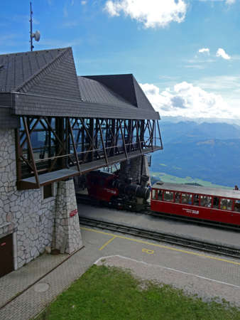 wolfgang: Mountain railway station on top of the Schafberg in Austria close to St. Wolfgang 2014 Editorial
