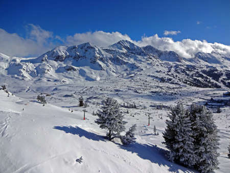 Panorama of Obertauern in Austria on a sunny day in January 2015 Stock Photo
