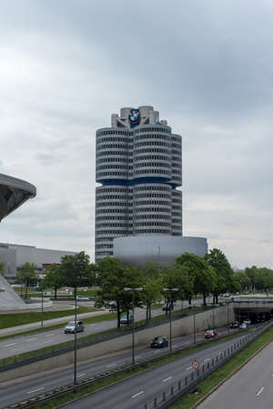 bmw: Headquarters of BMW on a cloudy day