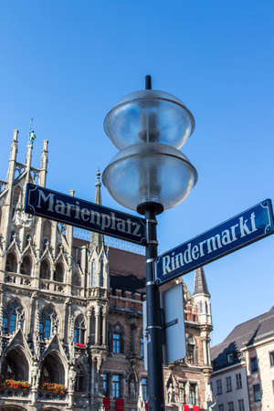 marys: Marienplatz also called Marys Square is one of the most vital places in Munich with the new city hall and numerous cafes and shops Stock Photo