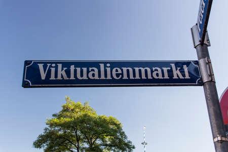 Blue white street sign of Viktualienmarkt Stock Photo