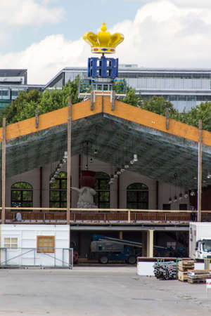 prior: Building works in preparation of the Oktoberfest 2015 with the buildup of the famous beer tents, picture was taken on 30th July, roughly 2 months prior start of the folk festival