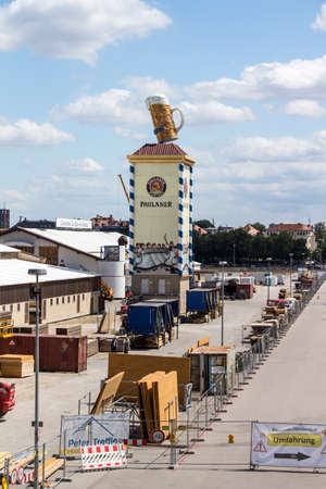 buildup: Building works in preparation of the Oktoberfest 2015 with the buildup of the famous beer tents, picture was taken on 30th July, roughly 2 months prior start of the folk festival