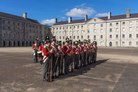 barracks: Practicing soldiers in the military barracks in the Arbour Hill area of Dublin, Ireland and now the National Museum of Ireland, Decorative Arts and History Editorial
