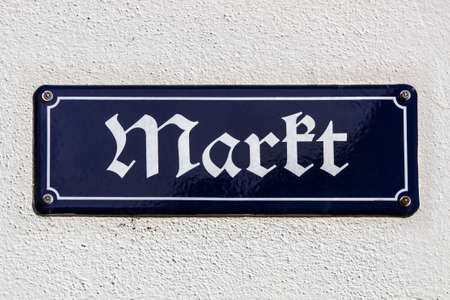 notation: Street sign in old German notation at the market place of Crimmitschau