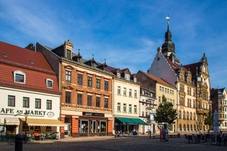 The marketplace of Werdau is built by using flagging and has a beautiful facade of the buildings