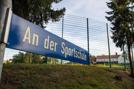 center court: The Sportschule is a training center for sports and is sponsored by the federal state of Saxony, the areal comprises for example a football ground, running paths and a volleyball court Editorial