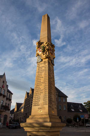 thaler: The old column at the Postplatz in Reichenbach Vogtland shows destinations with a price, this marks the required amount of dollars for a transport to the city Editorial